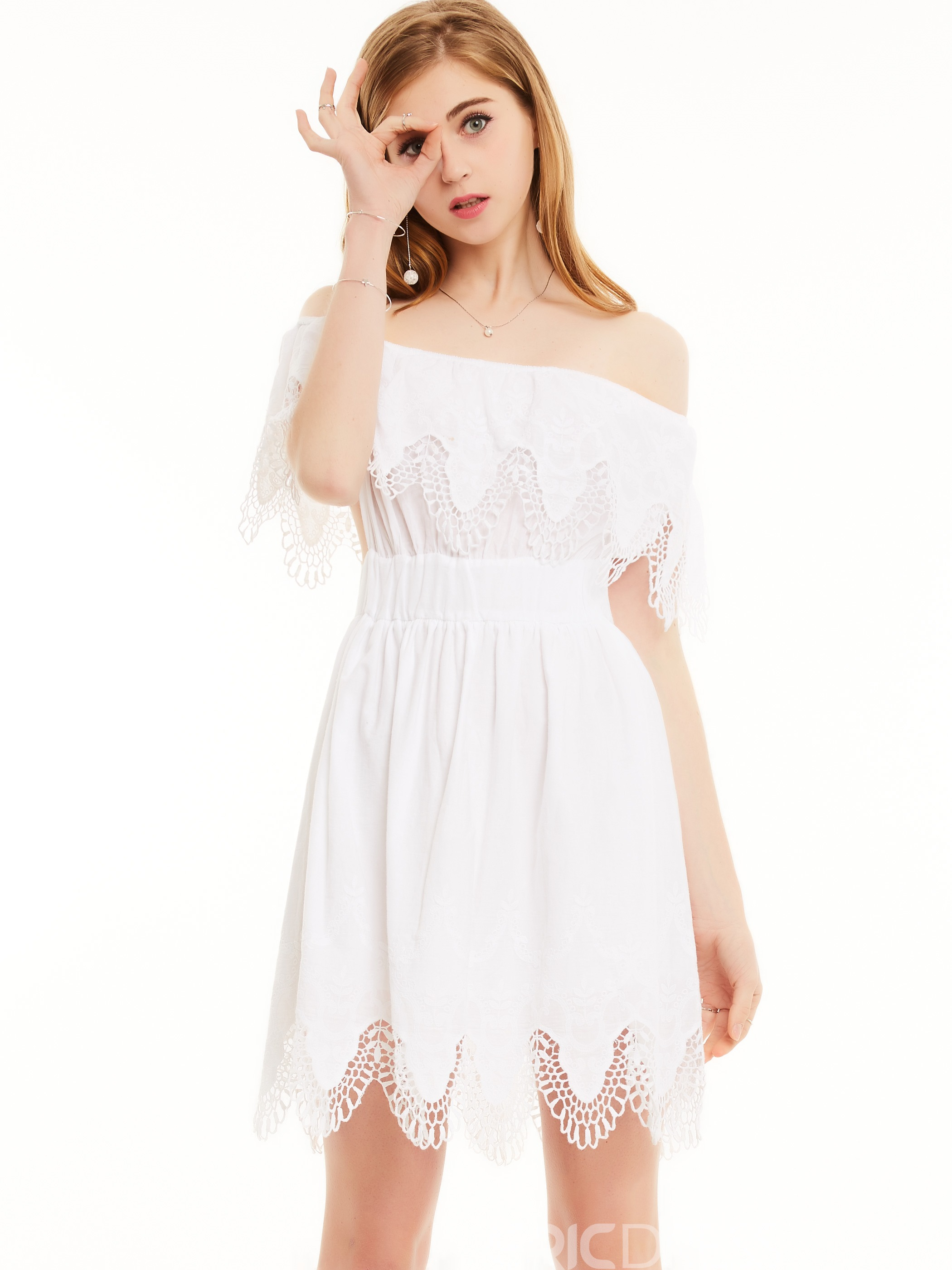 Ericdress Slash Neck Floral Embroidery Backless Casual Dress