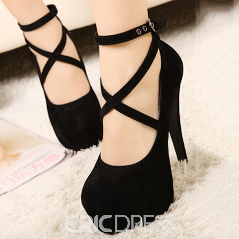Fashion Stiletto Heels High Platform Black Suede Upper Shoes