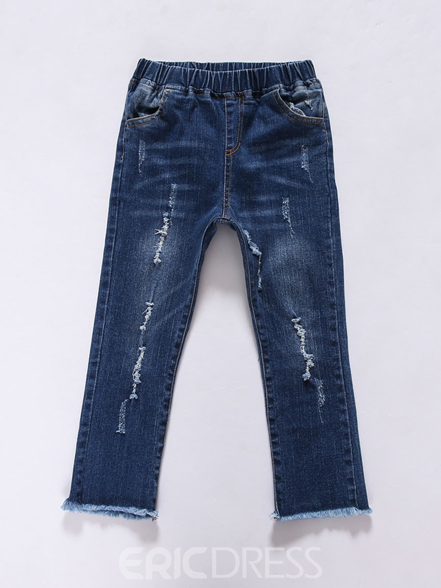 Ericdress Denim Worn Hole Skinny Ankle Length Girls Jeans