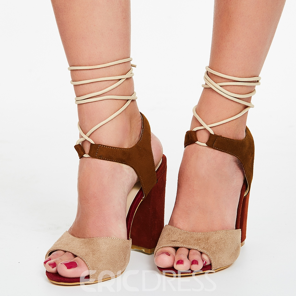 Ericdress Color Block Chunky Heel Sandals
