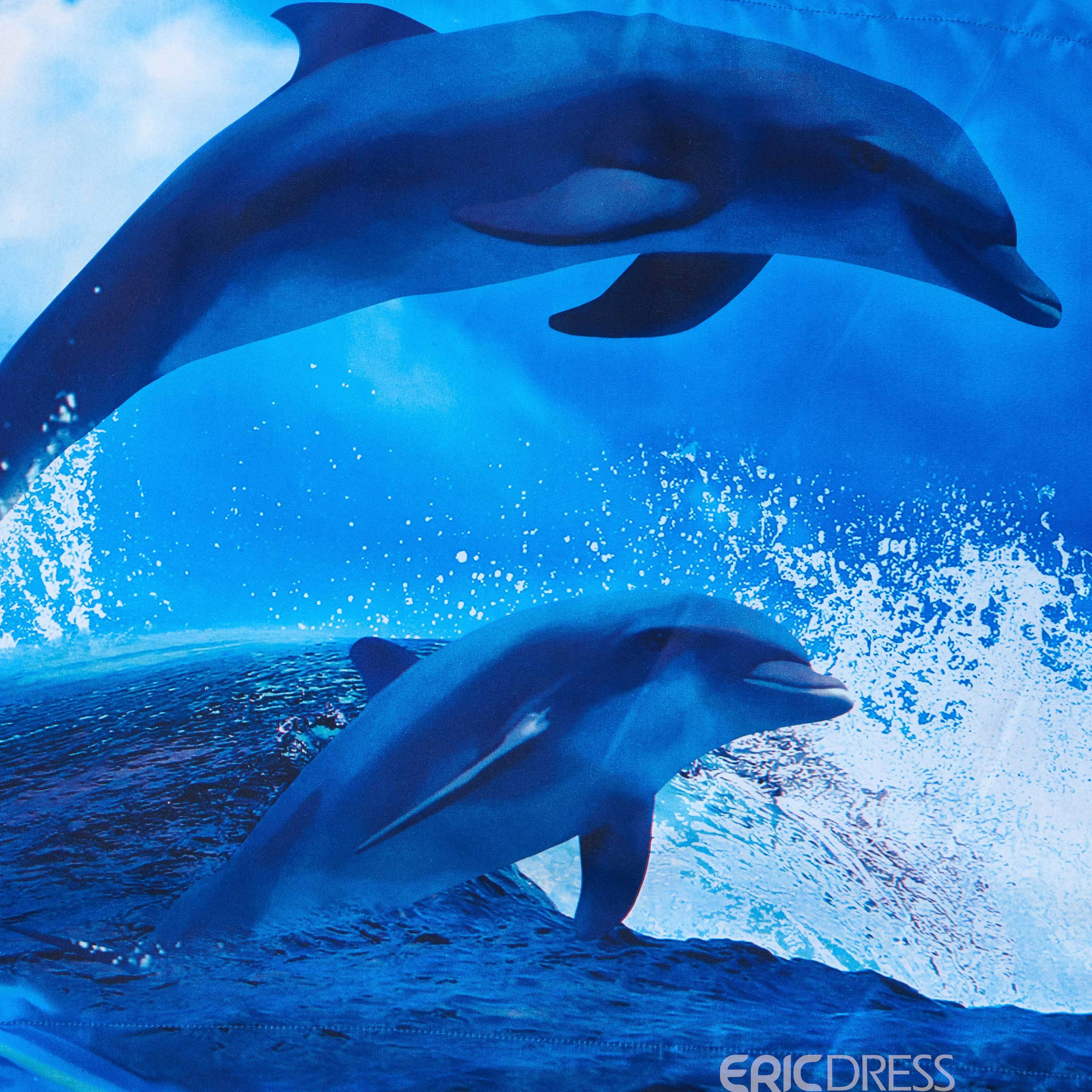 Friendly Dolphins Jumping out of Blue Ocean Print Polyester 3D Bedding Sets