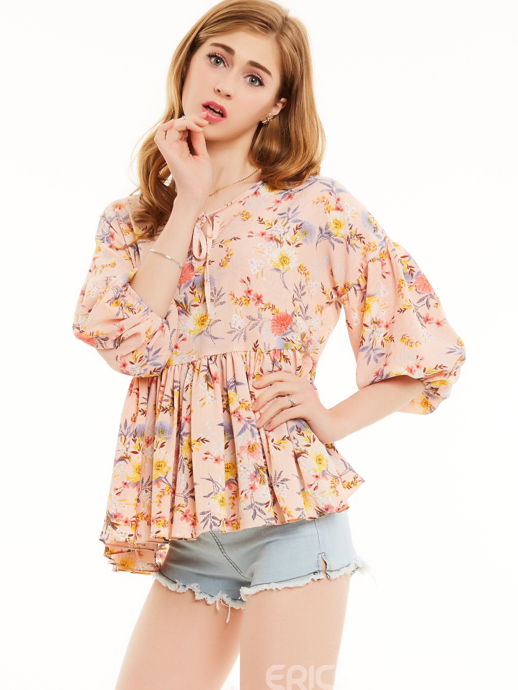 Ericdress Peplum Floral Embroidery Blouse