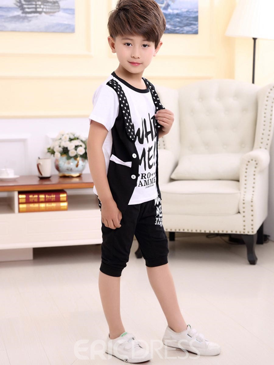 Ericdress Double-Layer T-Shirt Mid-Calf Pants 2-Pcs Boys Outfit