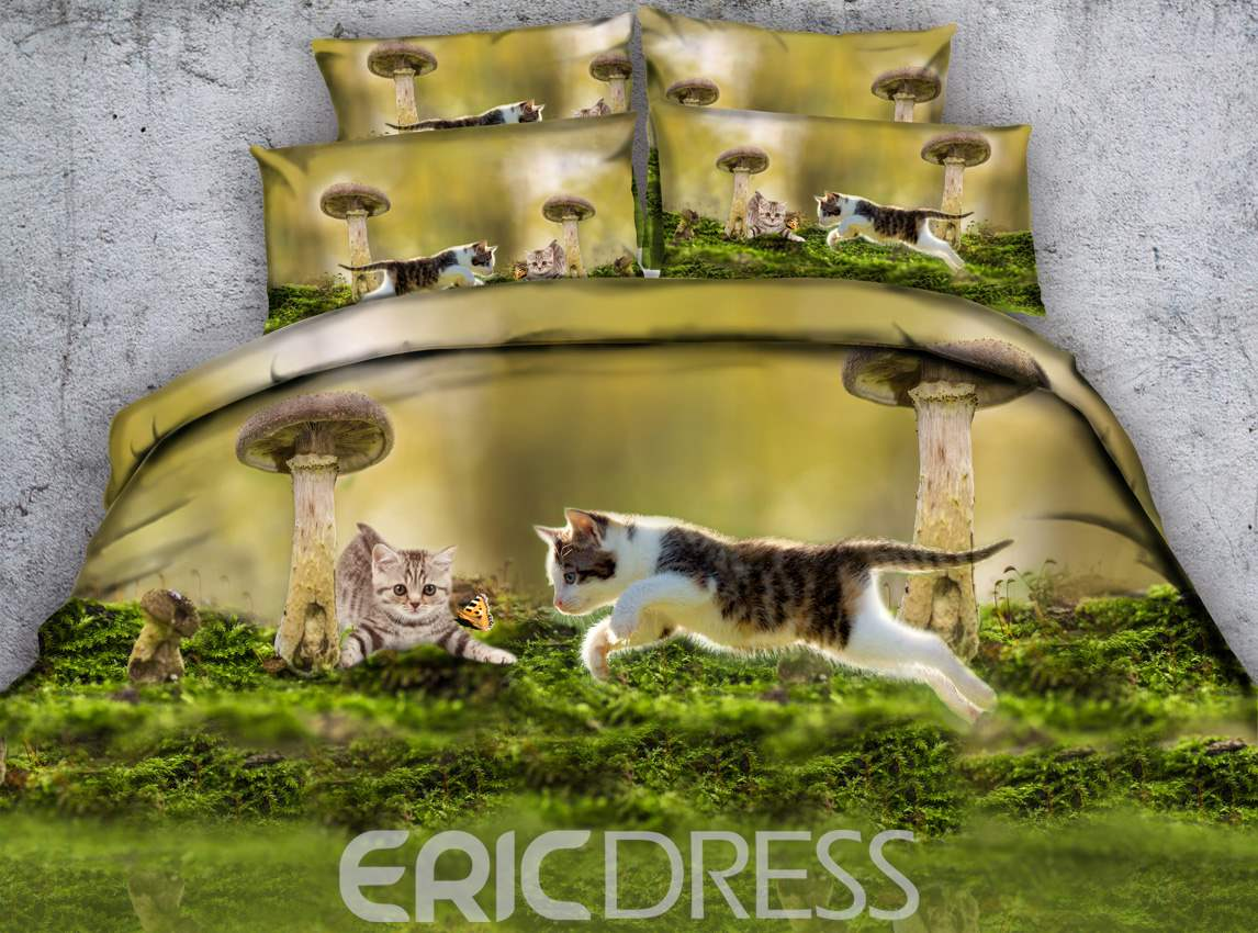 Kittens Chasing a Butterfly Printed Cotton 4-Piece 3D Bedding Sets/Duvet Covers