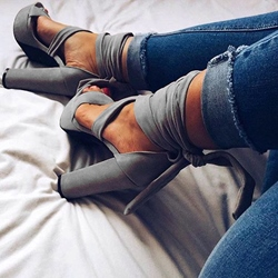 Ericdress Gray Lace Up Chuncky Heel Sandals фото