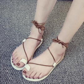Ericdress Roman Toe Ring Lace up Beach Sandals