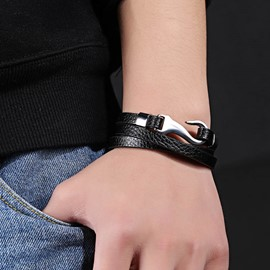 Ericdress Brief Double Leather Men's Bracelet
