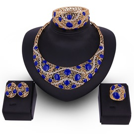 Ericdress Blue Acrylic Design Hollow Carving Jewelry Set