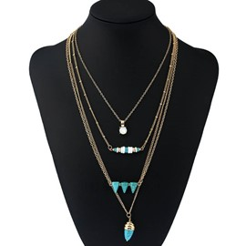 Ericdress Chic Multilayer Alloy Pendant Charm Necklace