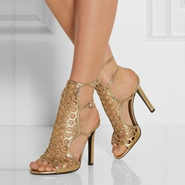 Ericdress Buckle Peep Toe Hollow Golden Sandals