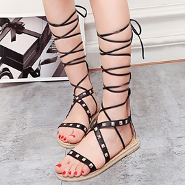Ericdress Rivets Decorated Cross Strap Flat Sandals