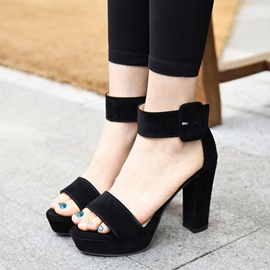 Ericdress Suede Open Toe Chunky Sandals