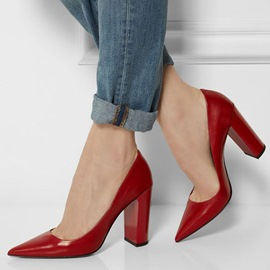 Ericdress Red Point Toe Block Heel Pumps