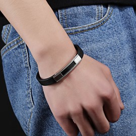 Ericdress Titanium Steel Leather Bracelet for Men
