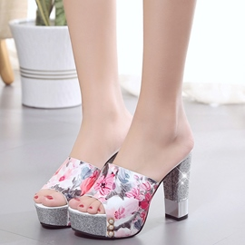 Ericdress Floral Print Sequins Platform Mules Shoes
