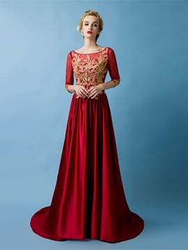 Ericdress 3/4 Sleeve Lace Applique Long Evening Dress With Court Train