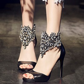 Ericdress Queen Style Rhinestone Peep Toe Stiletto Sandals