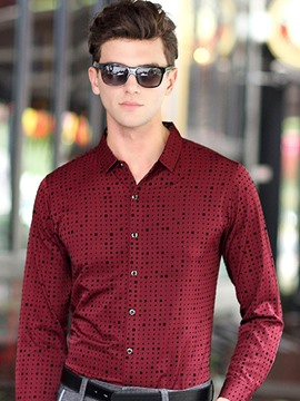 Ericdress Long Sleeve Polka Dots Slim Men's Shirt