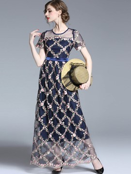 Ericdress Embroidery Mesh Patchwork Maxi Dress