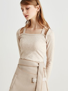 Ericdress Solid Color Wide Shoulder Strap Knitwear
