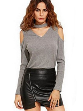 Ericdress Solid Color V-Neck Off-Shoulder T-Shirt