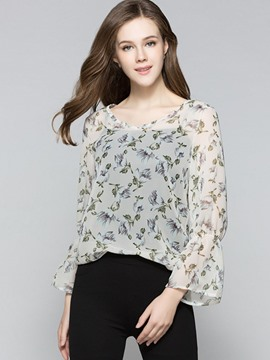 Ericdress Round Neck Printed Chiffon Blouse