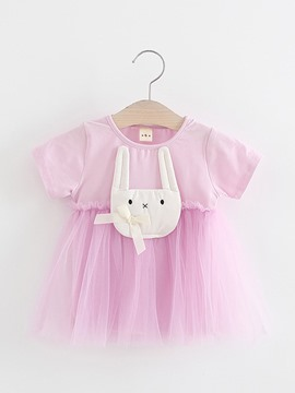 Ericdress Rabbit Appliques Mesh Short Sleeve Dress