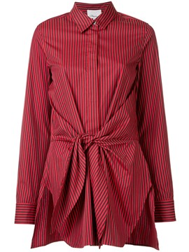 Ericdress Bow Tie Knot Front Striped Blouse