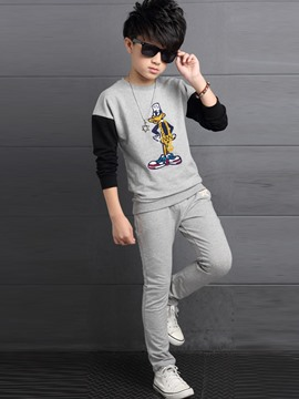 Ericdress Cartoon Printed Color Block Casual Boys Outfit
