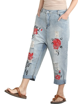Ericdress Printed Light Blue Worn-Out Women's Jeans