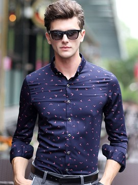 Ericdress Print Slim Long Sleeve Quality Men's Shirt