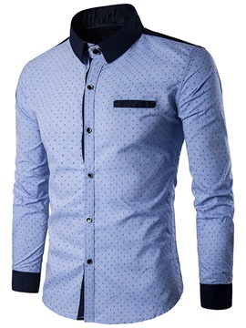 Ericdress Color Block Patched Polka Dots Men's Shirt