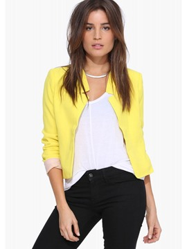 Ericdress Solid Color Crop Jacket