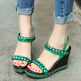 Ericdress Bright Open Toe Wedge Sandals