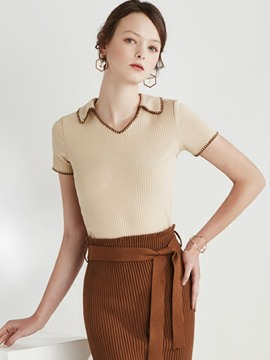 Ericdress V-Neck Short Sleeve Knitwear