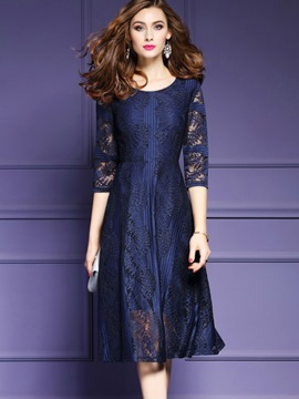 Ericdress Three-Quarter Sleeve See-Through Expansion A Line Dress