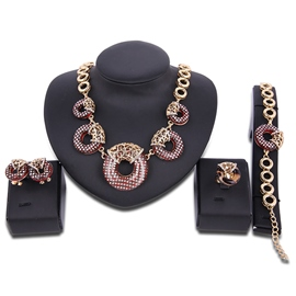 Ericdress Golden Beading Four-Pieces Hollow Jewelry Set