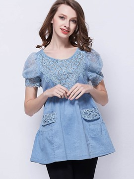 Ericdress Lace Crochet Pelplum Blue Blouse