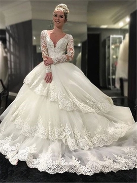 Ericdress Long Sleeves Ball Gown V Neck Appliques Luxury Wedding Dress