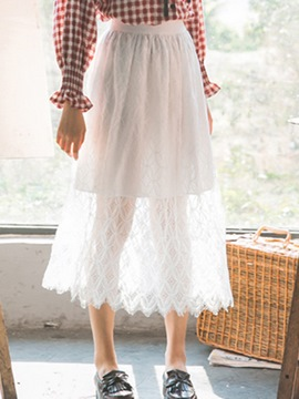 Ericdress White Chiffon Women's Skirts