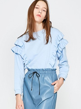 Ericdress Blue Ruffle Pullover Cool Hoodie