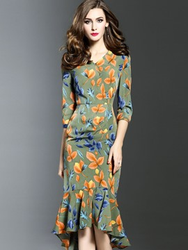 Ericdress Floral Print Mermaid Sheath Dress