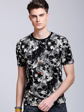 Ericdress Crew Neck Floral Casual Men's T-Shirt