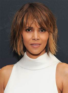 Ericdress Halle Berry Messy Blunt Cut Lob Mixed Color Short Straight Synthetic Hair With Bangs Capless Cap Wigs 10 Inches