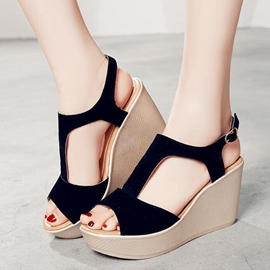 Ericdress Suede T Strap Wedge Sandals