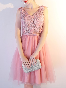 Ericdress A-Line Appliques Beaded Lace Short Prom Dress