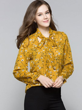 Ericdress Lace-Up Floral Printed Blouse