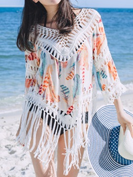 Ericdress Beautiful Tassel Hollow Print Cover-Up