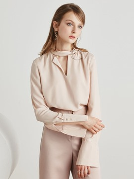 Ericdress Split Sleeve Nude Blouse