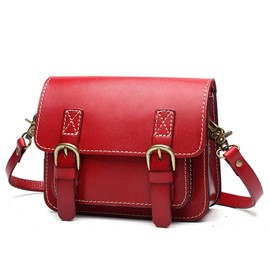 Ericdress Double Lock Decorated Cowhide Crossbody Bag